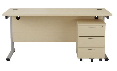Flite Rectangular Desk And Three Darwer Pedestal In Maple