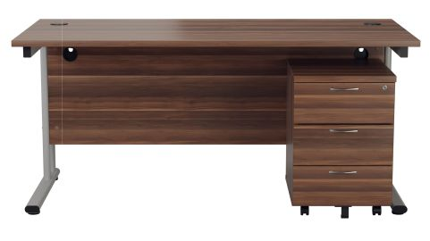 Flite Rectangiular Desk And Three Drwer Pedestal In Dark Walnut