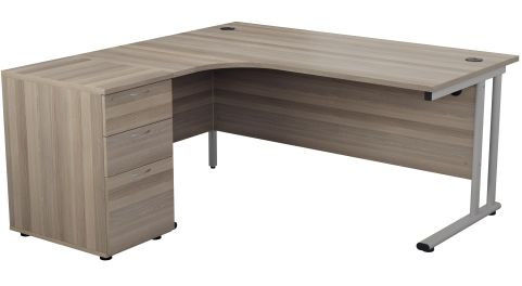 Flite Right Hand Corner Desk And Pedestal In Grey Oak