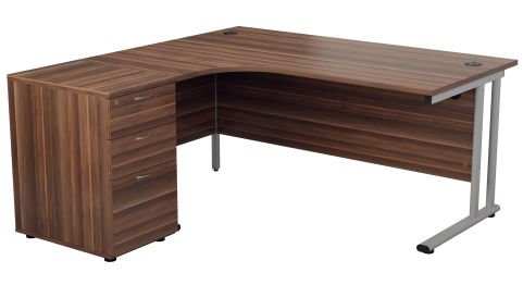 Flite Right Hand Corner Desk And Desk Height Pedestal In Dark Walnut