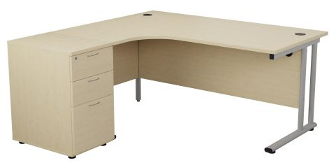 Flite Right Hand Corner Desk And Pedestal In Maple