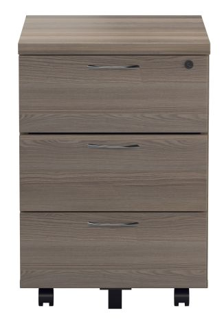 Flite Three Drawer Mobile Pedestal In Grey Oak