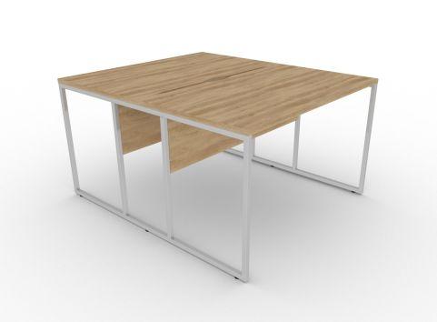 Factory Two Person Bench Desk Nebraska Oak