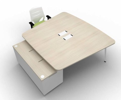Elica Thoracic Twin Desk & Credenza Lime Oak Chairs Top