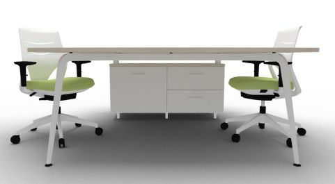 Elica Thoracic Twin Desk & Credenza Lime Oak Chairs Underside
