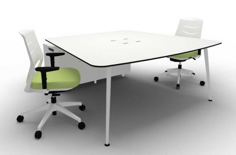 Elica Thoracic Twin Desk & Credenza Compact White Chairs