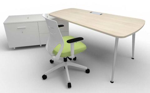 Single Left Hand Desk & Credenza Chair