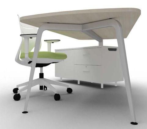 Single Left Hand Desk & Credenza Underside