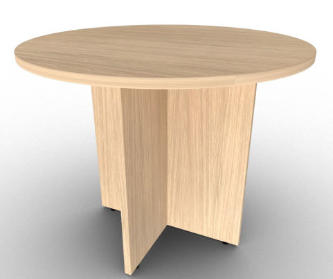 Verade Oak Circular Meeting Table With Arrowhead Base, Manufactured In The UK With A 5 Year Warranty
