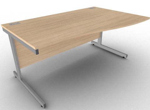 Avalon Verade Oak Right Hand Office Wave Desk, Stylish Office Workstation Available In 17 Finishes