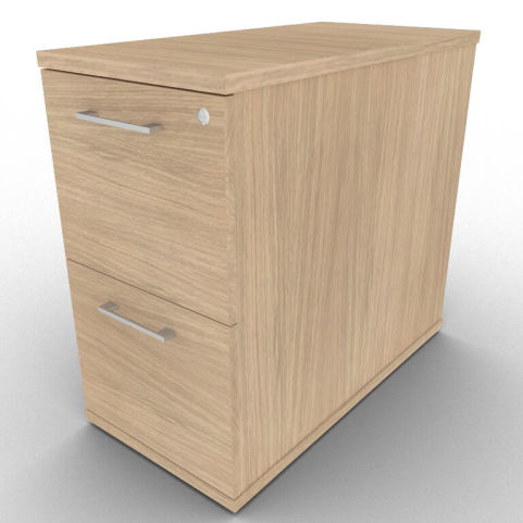Avalon 800mm Deep Verade Oak Two Drawer Office Desk Filing Cabinet With Lockable Drawer