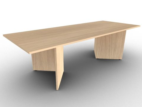 Verade Oak Rectangular Meeting Table, 15 Finishes, Three Size Options, ABS Edge Protection