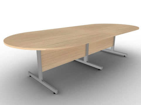 Avalon Verade Oak Boardroom Table With A Silver Finish Steel Leg Frame And Free Delivery
