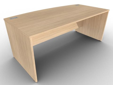 Verade Oak Bow Fronted Desk With Side Panels, Cable Management, Free UK Delivery And Installation