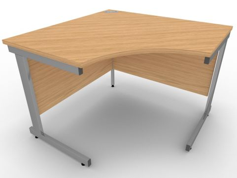 AVALON58 Stone Oak Symmetrical Cantilever Corner Desk, Silver Metal Frame, 5 Year Warranty, Free Delivery