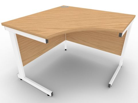 AVALON58 Stone Oak Symmetrical Cantilever Corner Desk, White Metal Frame, 5 Year Warranty, Free Installation