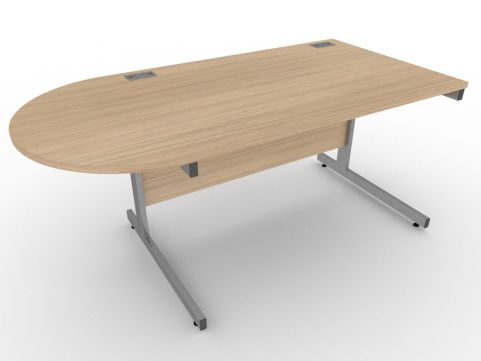 AVALON56 Avalon Left Hand Desk With D Meeting End, Verade Oak, 17 Finishes, Free Installation