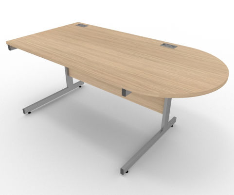 AVALON57 Avalon Right Hand Desk With D Meeting End, Verade Oak, 17 Finishes, Free Installation