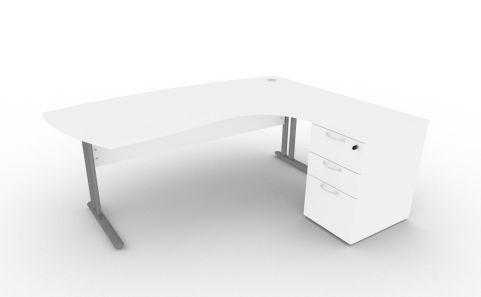 Optimize Executive Corner Desk And Pedestal In White