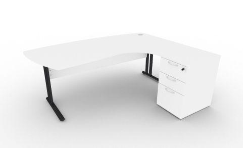 Optimize Executive Corner Desk And Pedestal In White V2