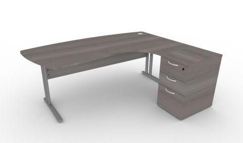 Optimize Executive Corner Desk And Pedestal In Cedar