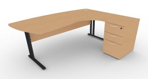 Optimize Executive Corner Desk And Pedestal In Beech V2