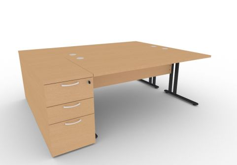 Optimize Two Person Desk Bundle Deal In Beech V2