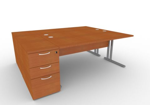 Optimize Two Person Desk Bundle Deal In Cherywood