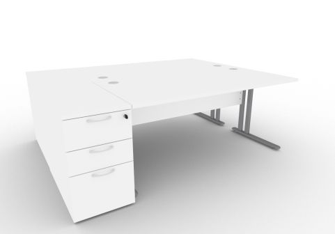 Optimize Two Person Desk Bundle Deal In White