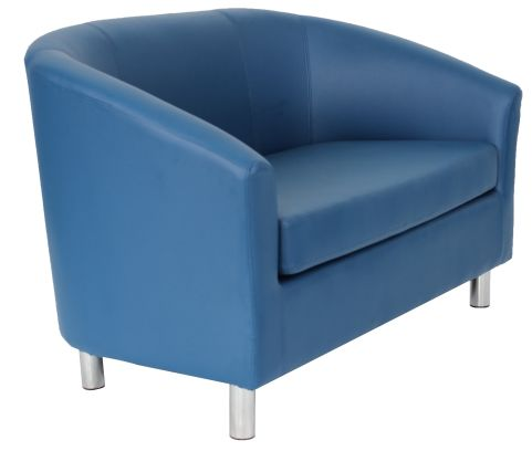 Zoron Two Seater Sofa In Royal Blue Angle View