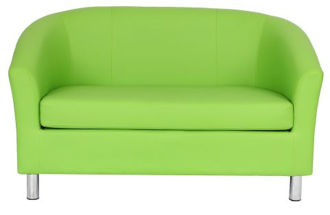 Zoron Two Seater Leather Sofa In Green With Chrome Feet Front View