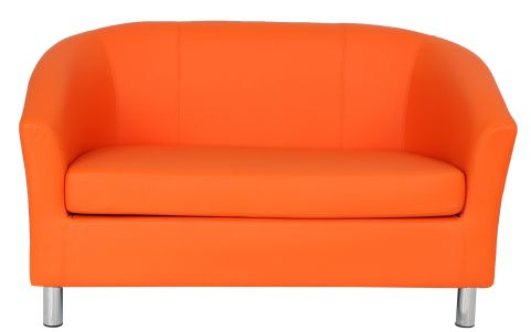 Zoron Faux Learher Sofa In Orange With Chrome Feet Front View