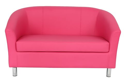 Zorion Leather Sofa In Pink With Chrome Feet Front View