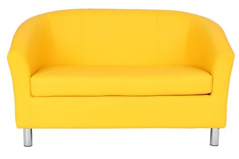 Zoron Leather Sofas In Yelllow With Chrome Feet