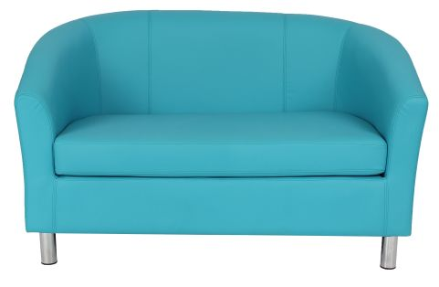 Zoron Leather Sofas In Light Blue With Chrome Feet Front View