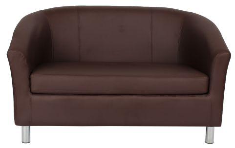 Zoron Brown Leather Sofas With Chrome Feet Front View