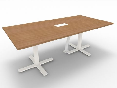 Novara Meeting Desk, Canaletto Walnut, 200cm Length, 75cm Height, With Electrification