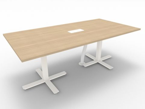 Novara Meeting Desk, Natural Oak, 200cm Length, 75cm Height, With Electrification