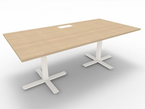 Novara Meeting Desk, Natural Oak, 200cm Length, 75cm Height, Without Electrification, Cable Holes