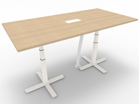 Novara Meeting Desk, Natural Oak, 200cm Length, 110cm Height, With Electrification