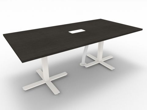 Novara Meeting Desk, Wenge (black&brown), 200cm Length, 75cm Height, With Electrification