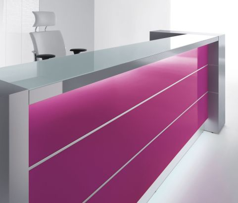 Valde Reception Desk Fuschia Straight