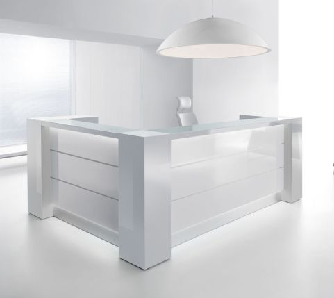 Valde L Shaped Reception Desk White Gloss