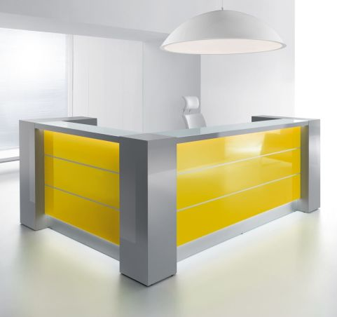 Valde Reception Desk L Shaped Yellow Gloss