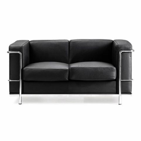 Corbusier Black Leather 2 Seater