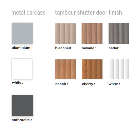 Buro Nomique Single Door Colour Tambour Unit Colours
