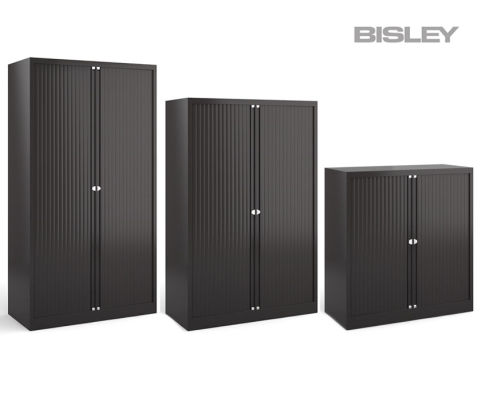 Next Day Bisley Contract Tambour Unit Cabinet Black