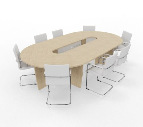 Biarritz Oval Shaped Modular Table Bleached Oak