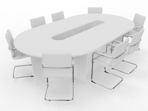 Biarritz Oval Shaped Modular Table White
