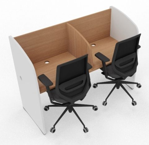 Offimat 2 Person Study Booth Beech And White Sides